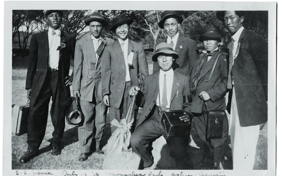 하와이 교민청년들과 함께 (1913년 7월 19일)<br />
