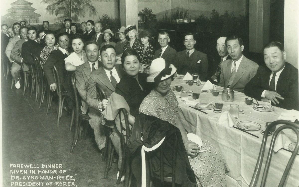 이승만이 하와이를 떠나 워싱턴으로 향할 때 LA 동지회 지부에서 마련한 송별연 (1939년 8월 9일)<br />
